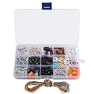 ETSAMOR 1100 pcs Acrylic Alphabet Letter Beads A-Z Cube Beads 15 Different Types Colorful Alphabet Beads with Thread DIY Beads Set for Kids DIY Necklace Bracelet Jewelry Making Key Chains