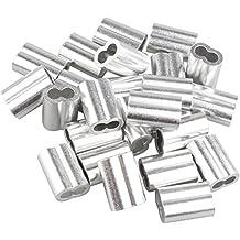 25 piezas clips de 5 mm para sujetar cables de aluminio, color plateado, con