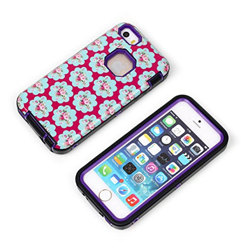 Cas de l'iPhone 5/5s, Lantier 3 en 1 Bouclier Boîte Style Slim mince antichoc Case High Impact dur Rugged souple TPU Ultra Retour de protection Housse caoutchouc pour iPhone 5/5s Case Mint Green Flowers Purple