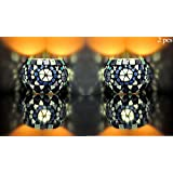 Living Room Decorations Mosaic Glass Blue Color Glass Candle Holder Set Of 2 Pcs 3 Inch