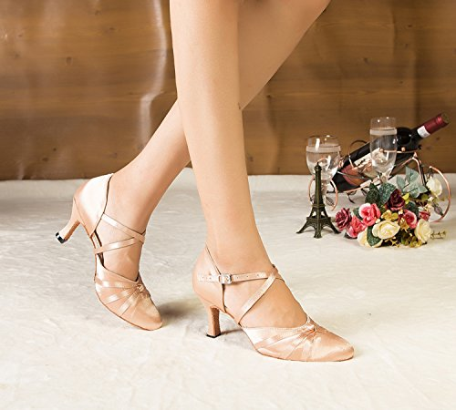 Minitoo Ladies Ribbon Knot Beige Satin Ankle Wrap Latin Dance Shoes 5 M UK