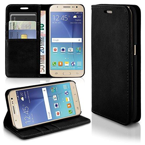 Caso casual para Samsung Galaxy J5 (2015) | caso práctico con ranuras para tarjetas y la función del soporte | Bolsa de protección celular OneFlow | La cubierta del tirón en Onyx
