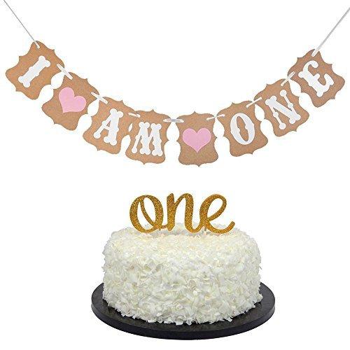 Décoration de gâteau pour premier anniversaire de bébé – « One » – et « I Am One » – pour bébé fille.