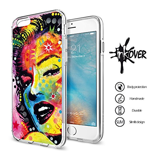 Cover iPhone 6 PLUS , Cover iPhone 6S PLUS - INKOVER - Custodia Cover Protettiva Guscio Soft Case Bumper Trasparente Sottile Slim Fit Tpu Gel Morbida INKOVER POKER DESIGN Carte Gioco Azzardo Texas Hol MARYLIN 1