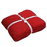 Luxus Knitted Throw 100% Baumwolle Ultra Glatt Gestrickte Decke Thermische Rote Decke für Bett Sofa und Couch 110x180cm