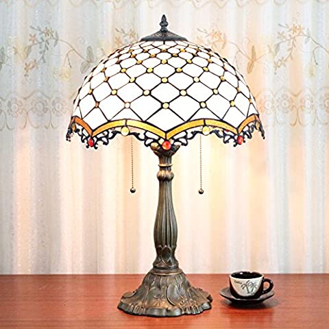 16 Inch European Creative Vintage Pastoral Bead Handmade Stained Glass Table Lamp Desk Lamp