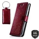 Ferro Red - Premium Vintage Ledertasche Schutzhülle Wallet Case aus Echtesleder Nubukleder mit Kreditkarten / Notizen Fachern Farbe Rot von Surazo® Ferro Kollektion für Samsung Galaxy Note 8 (N950)