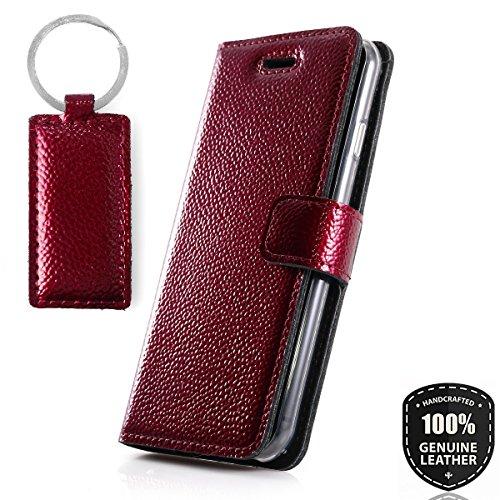 Ferro Red - Premium Vintage Ledertasche Schutzhülle Wallet Case aus Echtesleder Nubukleder mit Kreditkarten / Notizen Fachern Farbe Rot von Surazo® Ferro Kollektion für Huawei P10 Lite (5,20 Zoll)