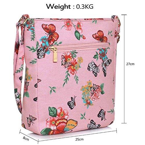 LeahWard® Kreuzkörper Schmetterling Taschen nett Groß Schulter Handtaschen 481 Rosa