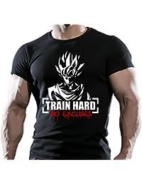 Goku carcasa rígida de accesorios para evitar rozaduras excusas diseño de tren de pesas Inglés T-camiseta de manga corta