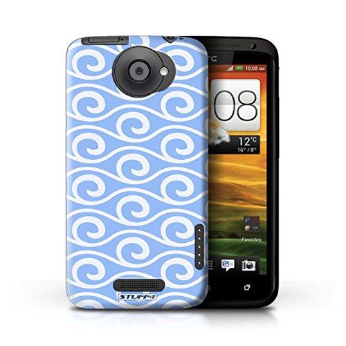 Kobalt® Imprimé Etui / Coque pour HTC One X / Rose conception / Série Motif ondes chic Bleue
