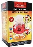 Termisil Teekanne Glaskanne mit Stövchen und Filter 1,5 L