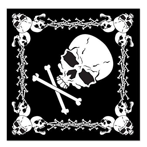 Beistle 60874 Bandana Totenkopf und gekreuzte Knochen, 55,9 x 55,9 cm, Schwarz/Weiß -