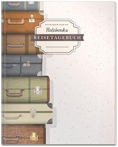 DÉKOKIND Reisetagebuch zum Selberschreiben | DIN A4, 100+ Seiten, Register, Vintage Softcover | Auch als Abschiedsgeschenk | Motiv: Koffer packen