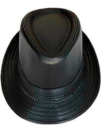 BRADLEY CROMPTON PU Sombreros De Fedora De Cuero Suave para Hombres Y  Mujeres 94294e03bb1