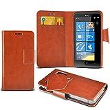 ONX3 (Baby Blue) HTC Titan II Super sottile Faux aspirazione del cuoio del rilievo del raccoglitore di caso della copertura della pelle con credito / debito Slot Card