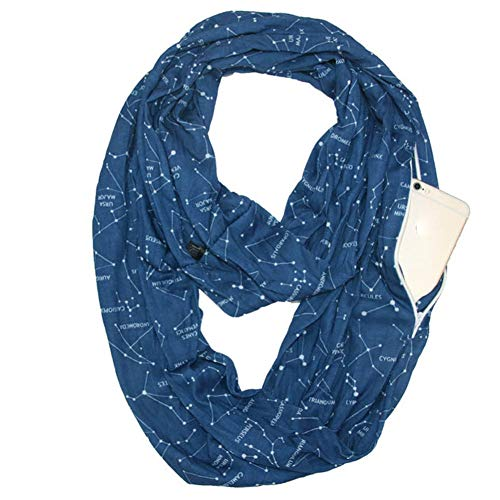 et Scarf Travel Wrap Sternenhimmel Bib versteckte Reißverschluss Aufbewahrungstasche für Smartphone Lippenstift Passport leichte, Blue ()