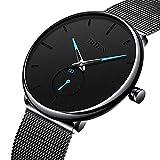 RSVOM RSVOM Herren Uhr Analog Quarz Armbanduhren mit Schwarz Edelstahl Masch Armband, Wasserdicht Minimalist Armbanduhr für Männer mit Sub-Dial