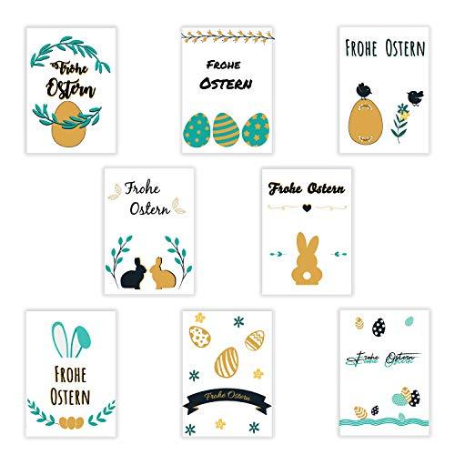 8 Osterkarten mit Briefumschlägen | Postkarten Format A6 | Ostereier | Osterhase | Grußkarten als Postkartenset zu Ostern - Grußkarten Ostern