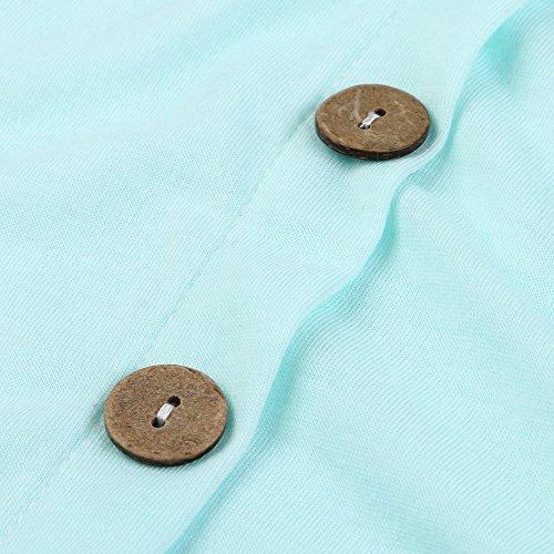 EUZeo_Women Blouse -  Maglia a manica lunga  - Maniche a 3/4 - Donna Blue