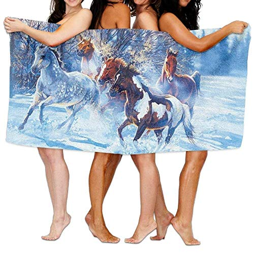 Jinhua19 Unisex Horses In The Snow Beach Towels Washcloths