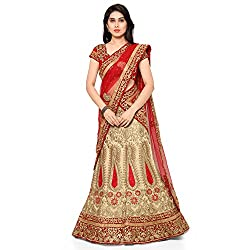 NAAIDAAKHO BEIGE AND RED COLOR HEAVY EMBROIDERED BENGLORY SILK LEHENGA CHOLI