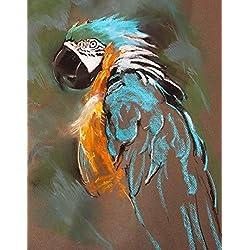 Pintura por números Bricolaje Kit de pintura digital DIY el loro en arena animal Guacamayo cuadros pintados por números con colores de pintura sobre lienzo para mujeres niñas decoración del hogar DIY