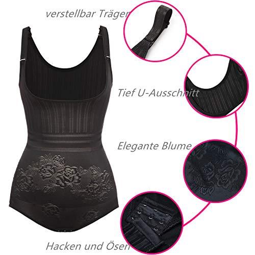 SHAPERIN Damen Spitze Shapewear Bodys mit Bauch Weg Effekt Unterbrust Atmungsaktiv Figurformende ohne Bein mit öffenbare Haken Schritt Formende Taillenmieder(Schwarz,2XL) - 4
