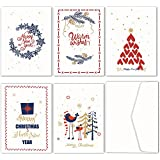 JOFANZA Christmas Cards Pack Of 30PCS Greeting Card Assorted with 5 Designs 30 White Adhesive Envelopes