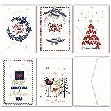 Jofanza biglietti di Natale, confezione da pz. Biglietto d' auguri assortiti con 5disegni 30buste bianche adesive Red