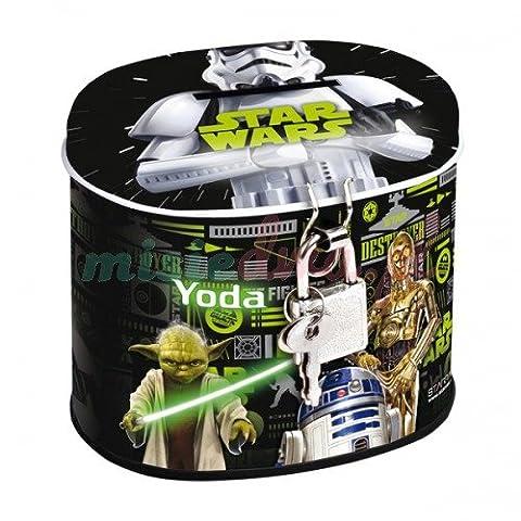 Maxi&Mini Star Wars Spardose, oval, aus Metall, Verschluss mit Vorhängeschloss