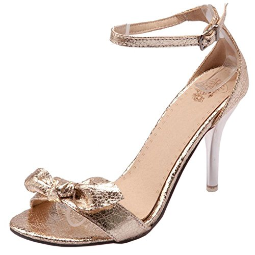 COOLCEPT Femmes Mode Sangle de cheville Charming Sandales Or Argent Mariage Soiree Chaussures Or