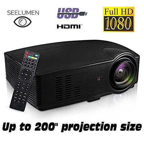 Tragbarer Full HD 1080p, seelumen (2018Neue Modell) Projektoren 3200Lumen-Projektor Beamer LED LCD 1920x 1080max, 5000: 1Kontrast, 2x HDMI, VGA, 2USB, für PS4, Xbox One, Nintendo Switch, PC, - Von Lebensdauer Dvd-filmen