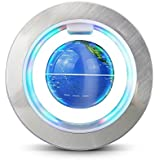 Baskety O Shape Magnetic Levitation Floating World Map Globe Rotating Mysteriously Suspended In Air With LED Lights For Learning/Teaching Demo Home Office Desk Decoration Christmas Gift (Silver)