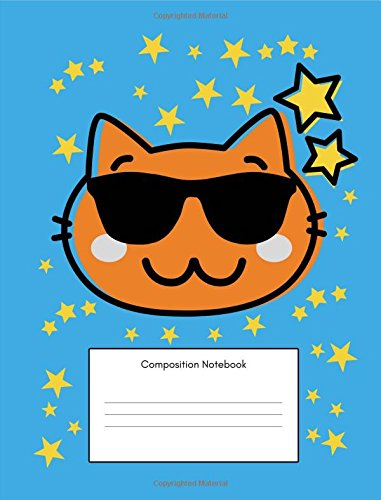 Composition Notebook: Maths Back to School, For Elementary School Kids, (7.44x9.69 Inches, 100 Pages, 4x4 Graph Quad,Squared Grid Paper), 3rd, 4th, 5th, 6th, Grade, Boys Cool Cat Design