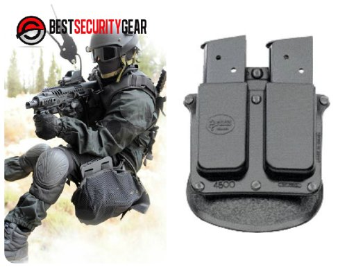 FOBUS Holster Doppel-Magazintasche für alle 9mm .357 .40 & .45 ACP single-stack Magazine / 1911 Colt Government Modelle .45 cal, single-stack / Ruger 97, 90 single-stack / Sig Sauer 220, 245 single-stack / Baby-Eagle (Jericho) .45 ACP single-stack / Alle generischen single-stack Magazine in 9mm .40 und .45 cal 4500 FOBUS + Best Security Gear Magnet (Colts Baby Gear)