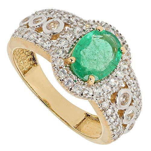 Harry Ivens Damen Ring aus echt Gold 585 mit echtem Smaragd grün und Saphir weiß RW16