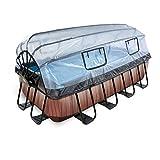 EXIT Pool Wood 400x200cm mit Abdeckung und Sandfilterpumpe - Braun