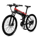 POTHUNTER Mountain Elektro-Fahrrad,240W Power Travel Fahrrad 48V10AH Hoch Mit 27-Fach-Power-Off-Bremse Und Scheibenbremssystem Mountainbike (für Erwachsene Und Studenten),Red-48V10AH
