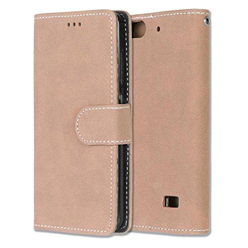 Chreey Huawei Honor 4C/G Play Mini Hülle, Matt Leder Tasche Retro Handyhülle Magnet Flip Case mit Kartenfach Geldbörse Schutzhülle Etui [Khaki]