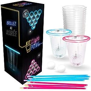 Original Cup - Set de Beer Pong, Juego de Cerveza, 22 x Vasos, 24 Palitos Brillantes, 2 Bolas de Ping-Pong Fluorescentes, LIGHTKIT