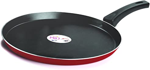 Pigeon by Stovekraft Mio Aluminum Flat Tawa, 250mm (Pink/Red)