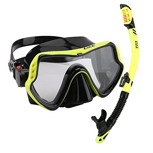 ZMZ Dive, Set di maschere da snorkeling, in silicone, vetro temperato e fibbie regolabili, set di maschere da snorkeling per adulti, Yellow & Black