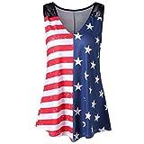 Blusa sexy mujer, ❤️ Amlaiworld Chaleco de mujer Camisas con estampado de bandera americana de mujer Camisetas sin mangas con cuello en V de encaje Camisa Blusa (Multicolor, M)