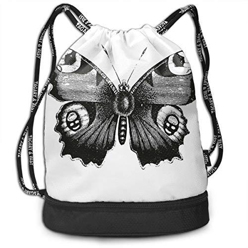 Hmihilu Drawstring Backpacks Daypack Bags,Vanessa Peacock Butterfly Vintage Style Wildlife Theme Nature Artwork,Adjustable String Closure. -