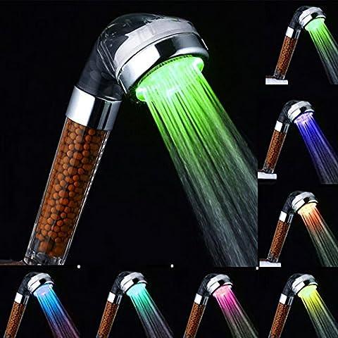 amélioré à changement de couleur Pomme de douche, avec éclairage LED 7COULEUR Cadeau, haute pression, Tourmaline Spa Handheld filtre D