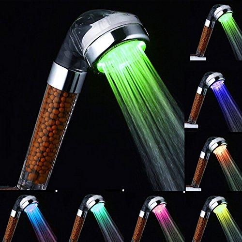Ducha de mano, marsoul ducha fija 7 LED de color cabezal de ducha de baño ducha ducha del aerosol fuerte anión doble filtración alcachofas de ducha(ducha de arco iris)