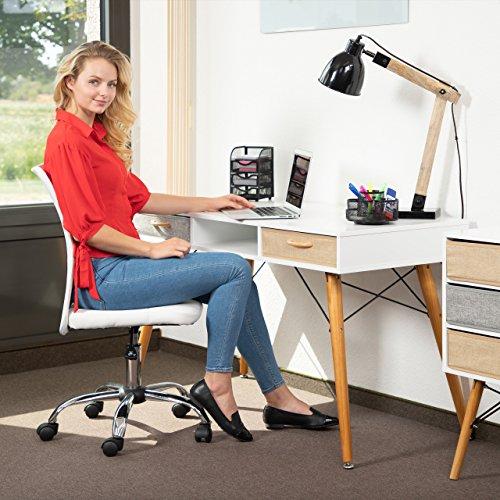 Relaxdays Schreibtisch, skandin. Design, 3 Fächer, 2 Schubladen, Computertisch HxBxT: ca. 74 x 125