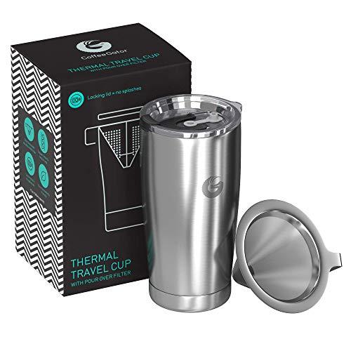 Coffee Gator Pour Over Kaffeebereiter - All-in-One Thermo-Kaffeebecher für unterwegs und Handtropf-Kaffeemaschine - Vakuumisolierter Edelstahl mit papierlosem Filter - 585ml - Silber