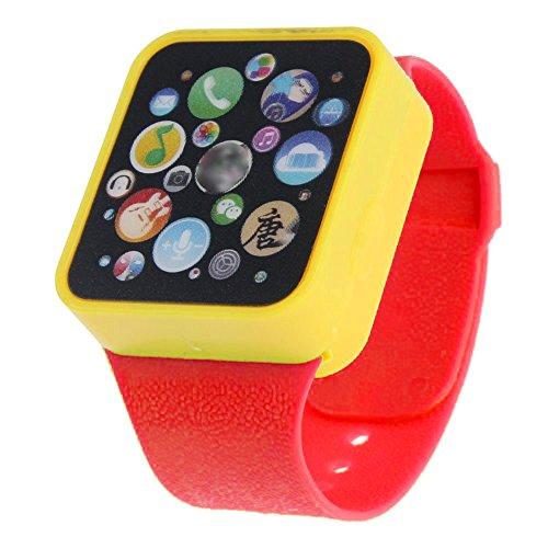 QINPIN Pädagogische Smart Armbanduhr Touchscreen für Kinder zu Lernen Rot